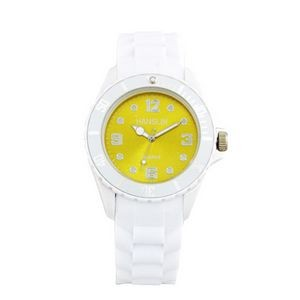Sports Silicone Analog Wrist Watch- Yellow Face