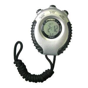 Silver Timer with Stopwatch and Neck Strap