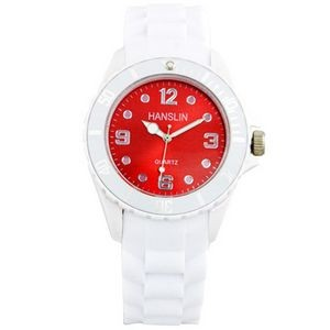 Sports Silicone Analog Wrist Watch- Red Face