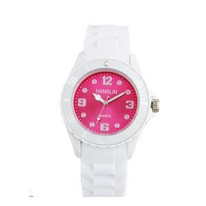 Sports Silicone Analog Wrist Watch- Pink Face