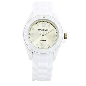 Sports Silicone Analog Wrist Watch- White Face